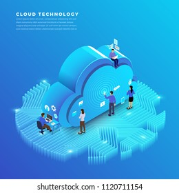 Business concept teamwork of peoples working development isometric cloud technology data. Vector illustrations.