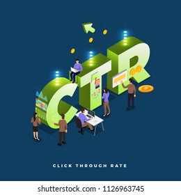 Business concept teamwork of peoples working development isometric CTR ( click trough rate ). Vector illustrations.