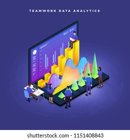 Business concept teamwork of peoples working development data analytics graph chart. Vector isometric  illustrations.