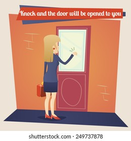 Business Concept Template Businesswoman with Briefcase Knocking at Customer Door on Stylish Background Retro Cartoon Design Vector Illustration