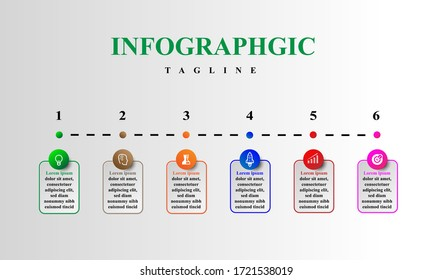 business concept timeline. Infograph template, realistic paper 6 steps infographic, vector banner can be used for workflow layout, diagram,presentation, education or any number option.