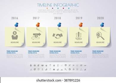 business concept timeline. Infograph template, realistic paper 5 steps infographic, vector banner can be used for workflow layout, diagram,presentation, education or any number option.