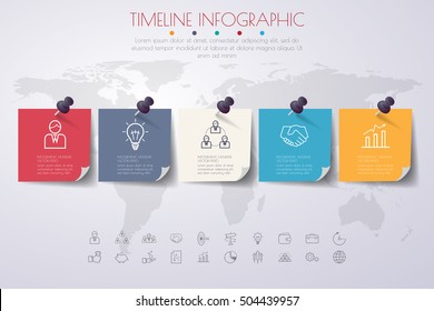 business concept timeline. Infograph template, realistic paper 5 steps . vector banner can be used for workflow layout, diagram,presentation, education or any number option.