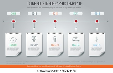Business concept timeline Infographic template, realistic notepad 5 with steps.