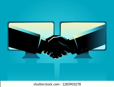 Business concept vector illustration of business agreement through internet