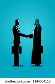 Business concept vector illustration of an Arabic businessman shake hand with western businessman