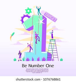 Business concept of vector illustration, be number one, the top of the cart, teamwork job, a man standing on the top, people climbing to reach the top, target achievement, strategy analysis