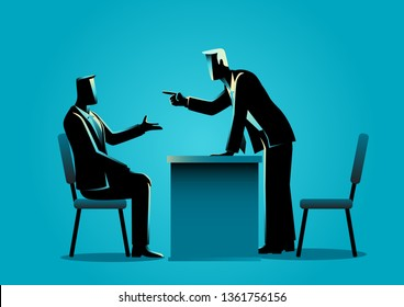 Business concept vector illustration of a boss pointing his finger to his employee, business, fired, angry management concept