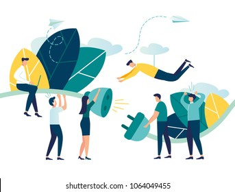 Business concept vector illustration, bug 404, disconnection from the Internet, unavailable, few people get angry, the network is broken, people try to attach a cable