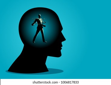 Business concept vector illustration of a businessman in human head breaking chains, freedom, free your mind, struggle, revolution in business concept