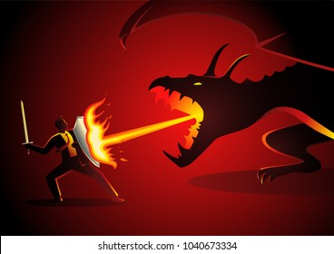 Business concept vector illustration of a businessman fighting a dragon. Risk, courage, leadership in business concept