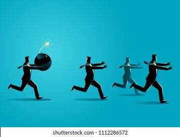 Business concept vector illustration of a businessman holding a huge bomb and his friends running away from him. Troublemaker at work business concept.