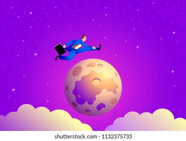 Business concept vector illustration of a businessman jumping over the moon
