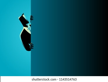 Business concept vector illustration of a businessman peeking from behind wall