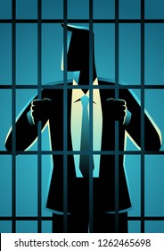 Business concept vector illustration of a businessman in jail. White Collar Criminal