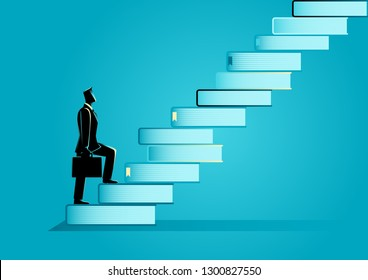 Business concept vector illustration of a businessman with suitcase going up the stairs made from books. Education, knowledge for success concept