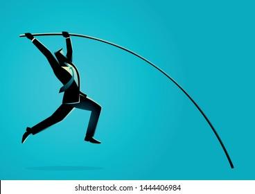Business concept vector illustration of a businessman using pole vault