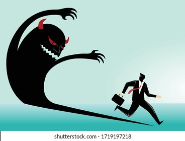 Business concept vector illustration, businessman fear with his evil shadow