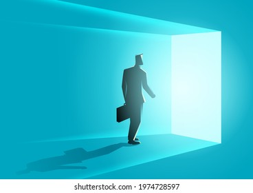 Business concept vector illustration of a businessman wallking into bright door, opportunity concept