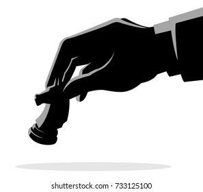 Business concept vector illustration of a businessman hand holding chess knight piece, strategy, strategic move concept