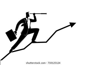 Business concept vector illustration of a businessman using telescope on graphic chart. Concept for forecast, observation, prediction, success, planning in business