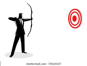 Business concept vector illustration of a businessman as an archer. Business on target