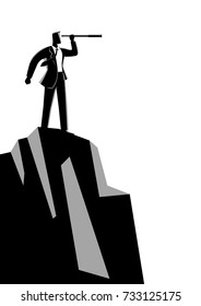 Business concept vector illustration of businessman using telescope on top of the mountain