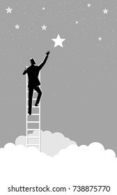 Business concept vector illustration of a businessman reach out for the stars