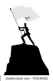 Business concept vector illustration of a businessman holding a flag on top of rock