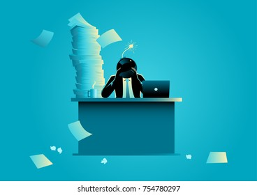 Business concept vector illustration of a businessman with bomb head ready to explode, stressful, headache, overload work in business concept