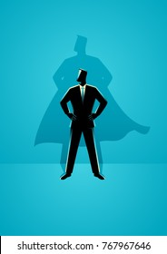 Business concept vector illustration of a businessman with superhero shadow