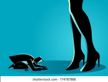 Business Concept Vector Illustration Of A Businessman Prostrated Under Female Foot