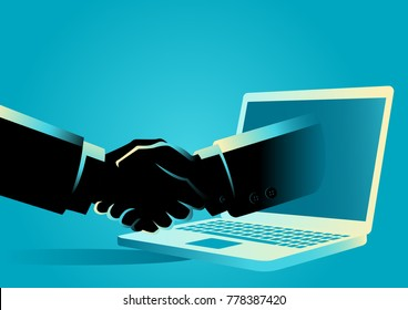 Business concept vector illustration of a businessman shake hands with a hand comes out from a lap top computer