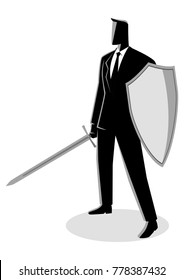 Business concept vector illustration of a businessman holding a sword and shield, preparation, protection, precaution in business concept