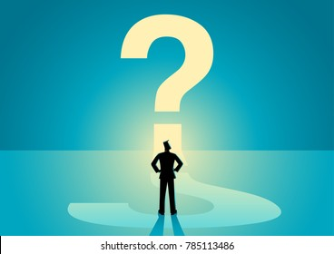 Business concept vector illustration of a businessman looking at big question mark