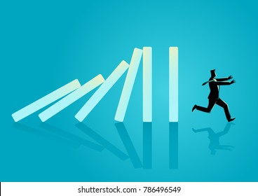 Business concept vector illustration of a businessman running away from domino effect