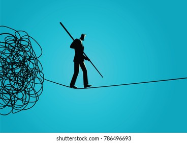 Business concept vector illustration of a businessman walking away carefully from tangled rope by holding a pole. Walk away from trouble, solution, problem solving, managing organization concept.