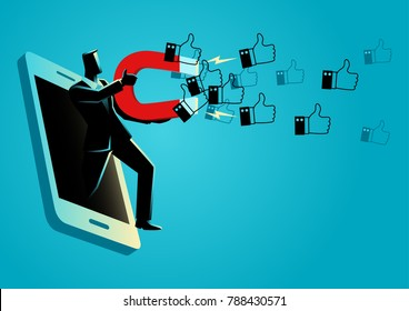 "Business concept vector illustration of a businessman come out from cellular phone holding a large magnet to attract thumb up icons. Concept for social media marketing strategy getting more ""likes"""