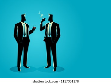 Business concept vector illustration of businessmen casually talking with each other, lobbying concept