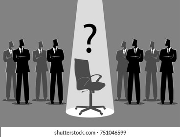 Business concept vector illustration of businessmen standing with spotlighted empty chair in the middle, candidate, promotion, career position concept.