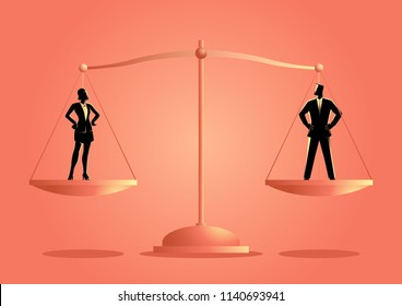 Business concept vector illustration of a businesswoman and businessman on a scale. Emancipation concept