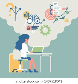 Business concept vector illustration with businesswoman at her workplace with laptop resolving business tasks in strategy, research, analysis and planning