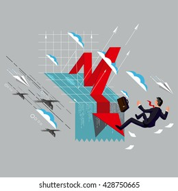 Business concept vector illustration. Chart Falling businessman and falling down arrow. Crisis graphic. Business fail.