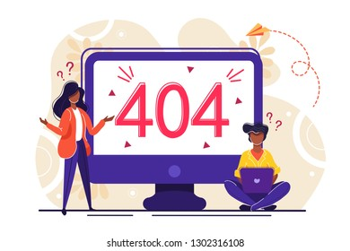 Business concept vector illustration, error 404, disconnection from the Internet, unavailable, little people are angry