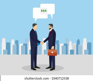 Business concept vector illustration in flat cartoon style. Business people shaking hands. Businessmen making a deal. Money investment concept.