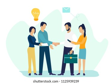 Business concept vector illustration in flat caroon design, partnership concept, agreement of parties, hand shake, signing documents
