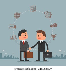 Business concept vector illustration in flat cartoon style. Business people shaking hands. Businessmen making a deal. Money investment concept. Business development cycle from idea to success.