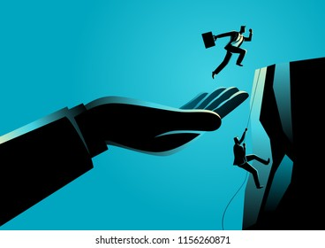 Business concept vector illustration of a hand helping a businessman to reach higher platform