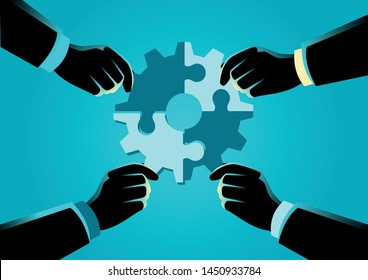 Business concept vector illustration of hands of diverse people assembling jigsaw puzzle forming a gear, help, support, teamwork, solution concept.