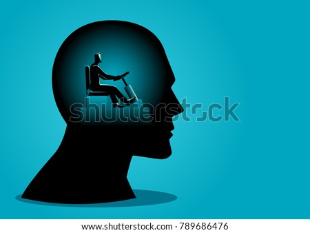 Business concept vector illustration of a human head being controlled by a businessman